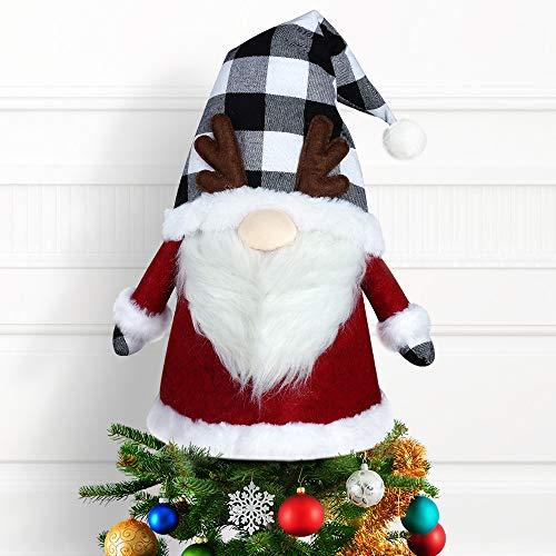 LURLIN Gnome Christmas Tree Topper, 26 Inch Large Handmade Swedish Tomte Xmas Gnomes Christmas Tree Decorations, Scandinavian Santa Elf Tree Ornaments Home Decor-Grey