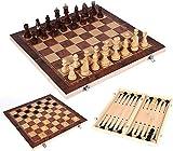 MWKLW Staunton Chess Juego de ajedrez de Madera Plegable, ajedrez de Viaje de Madera 3 en 1, Juego de Mesa de Damas y Backgammon, Juego de Estrategia táctica Tradicional 24 x 24 cm