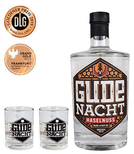 GUDE NACHT Haselnuss mit zwei Shot Gläsern - Geschenkpaket Haselnusslikör Likör aus Hessen (500ml | 29,0%vol.alc.)