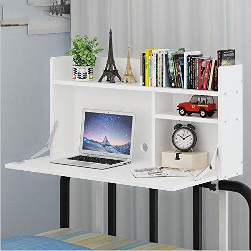 MH Mesa de Cama - Escritorio de computadora Mesa de Cama Ajustable en Altura suspendida, Mesa Perezosa, aprendiendo Mesa pequeña/Color Opcional (Color : White)