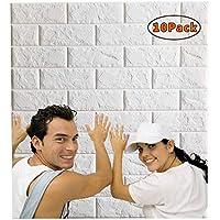 Arthome Papel Pintado 3D Ladrillo, 77cm x 70cm Autoadhesivo Grueso Impermeable Pegatina de Pared Espuma 3d, Paneles Decorativos 3D Piedra para Cuarto de Baño, Sala de Estar y Cocina (10 Pcs)