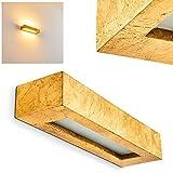 Aplique Paglia de cerámica en dorado, 2 x E14, 40 vatios de diseño alargado efecto de luz hacia arriba y abajo, ideal para lectura y sala de estar