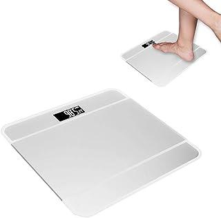 Báscula electrónica de grasa corporal para el hogar, LCD Básculas de baño digitales de alta precisión Báscula para medir el cuerpo Básculas corporales de plataforma de vidrio ultradelgadas(03)