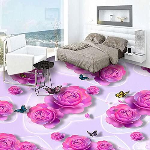 Custom 3D Floor Tiles Wallpaper Romántico Rosa Rosa Flores Mariposa Moda Murales Etiqueta Dormitorio Baño Pvc Piso Wallpaper-400X280Cmsuelo Mural Dormitorio Baño Pvc Autoadhesivo Desgaste 3D Baldosa