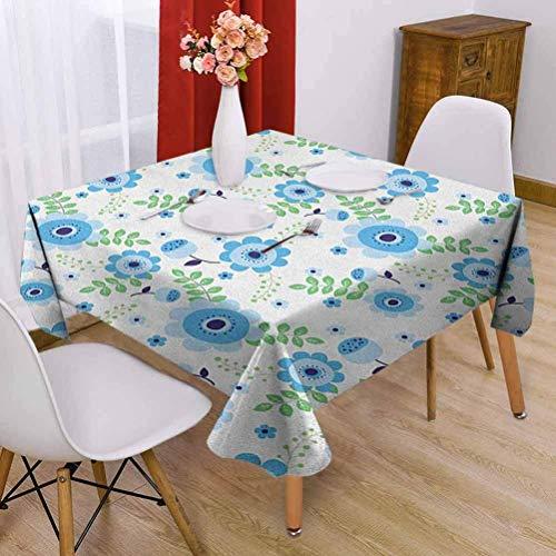 Hohun Mantel Cuadrado de café Floral Diseño de Flores simplista con Flores de Primavera y Hojas Frescas de follaje Limpia rápido Azul Azul pálido Verde Manzana