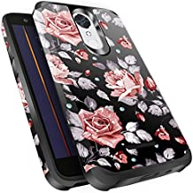 LG K20 V Case,LG K20 Plus Case,LG K10 2017 / LG Harmony/LG Grace Case, Miss Arts Slim Anti-Scratch Kit with [Drop Protection] Dual Layer Hybrid Protective Cover Case for LG K20 V -Rose Gold Flower