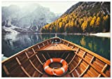 Panorama Póster Lago de Braies 100 x 70 cm - Láminas Decorativas Pared - Impreso en Papel 250gr - Cuadros Paisajes - Póster Naturaleza - Cuadros Decoración Salón