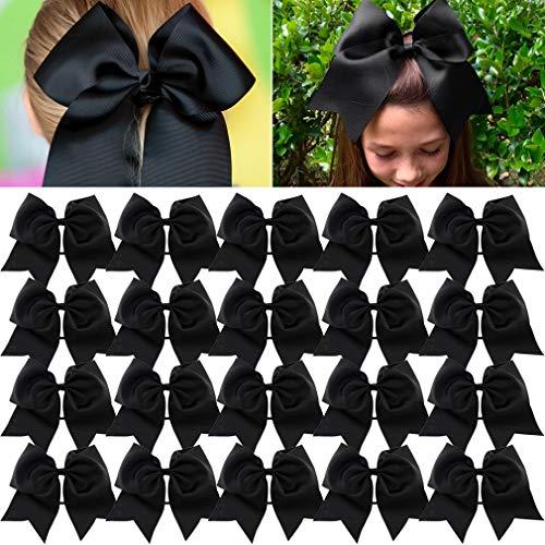 Large Cheer Bows Black Ponytail Holder Girls Elastic Hair Ties 8