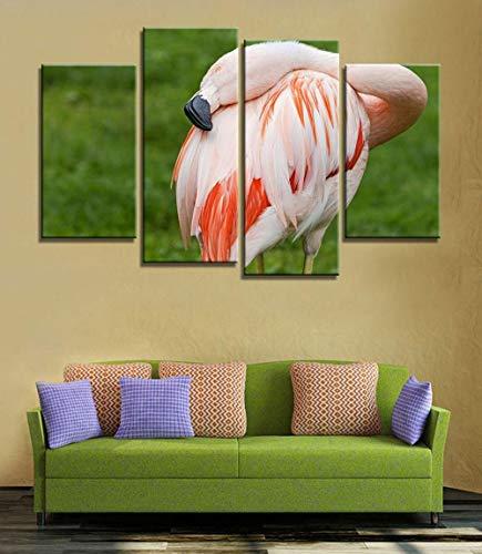 ANTAIBM® Kinderzimmer Schlafzimmer dekorative 4 Malerei Holzrahmen - verschiedene Größen - verschiedene Stile4 Panel Malerei Flamingo spielen im Wasser Rechteck Wandbilder für Wohnzimmer Wandkunst Pos