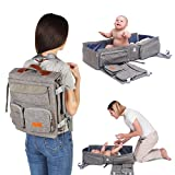 Travel Bassinet - 3 in 1 Diaper Bag Backpack - Portable Baby Travel Bed - Mobile Changing Station - Crib with Foldable System - Perfect for Traveling - Unisex Design - for Boys and Girls by QAQADU