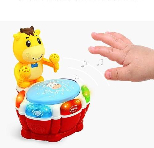 LIPENG-TOY Kindermusik Handtrommeln Babyspielzeug Früherziehung Puzzle 0-6-12 Monate Musik Pat Drum Multifunktionsspielzeug (Farbe   Bunte)