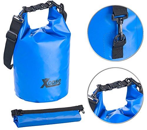 Xcase Packsäcke Motorräder: Wasserdichter Packsack, strapazierfähige Industrie-Plane, 10 l, blau (Roll Top Sack)