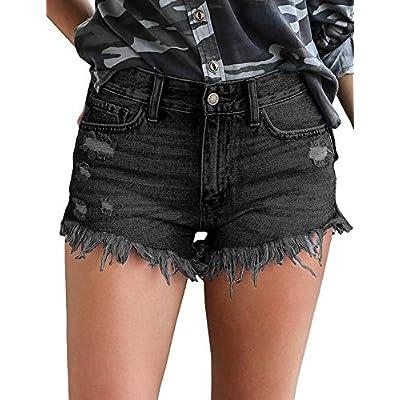 Women's Mid Rise Frayed Jean Shorts Distressed Raw Hem