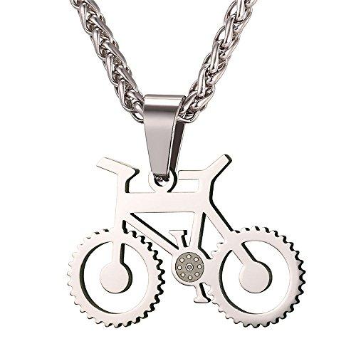 U7 Edelstahl Fahrrad Rad Radfahrer Rennrad Anhänger Halskette Kettenanhänger mit 55cm Kette Fashion Schmuck für Reiten Enthusiast, Silber-Ton