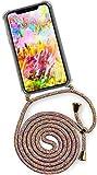 ONEFLOW® Handykette kompatibel mit iPhone X/iPhone XS - Handyhülle mit Band zum Umhängen Case Abnehmbar Smartphone Necklace - Hülle mit Kette, Regenbogen Bunt