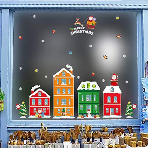 LILIGOD Cartoon Schneemann Sankt Fenster Aufkleber Home Decor Sticker Weihnachten Deko Fensterdekoration Aufkleber Fensteraufkleber