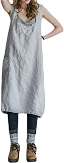 FSSE Women Plus Size Cotton Solid Pockets Summer Pinafore Apron Garden Work Dress
