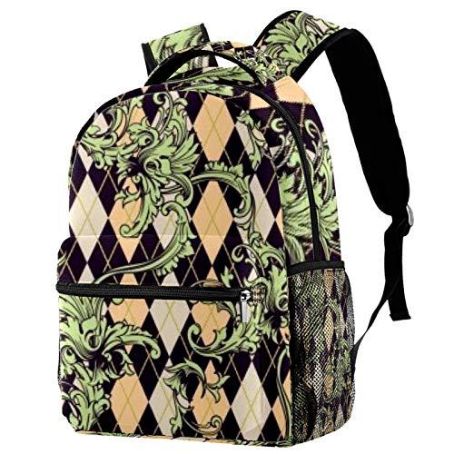 Diamond Vine Backpack School Bag Bookbag Hiking Travel Rucksack