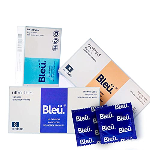 Bleu All Natural Latex Condoms Ultra Thin + Dotted + 3-In-1 Combo Condoms (24 count) Reduced Itching, Irritation Latex Smell. Free of Paraben, Glycerin, Benzocaine