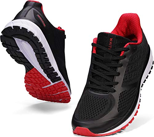 JOOMRA Mens Lightweight Running Tennis Shoes Arch Support Walking Fitness Size 12 Cushioned Work Footwear for Man Runny Athletic Workout Sneakers Black Red 46
