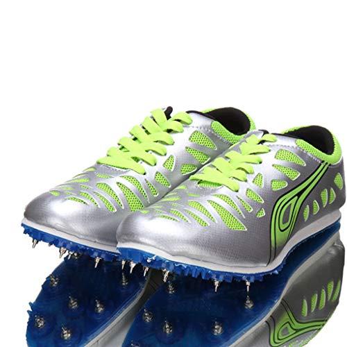 Unisex Pista Y Campo Atletismo Spikes Zapatos, Hombres Y Mujeres Deportes Deportes Al Aire Libre Carrera Sprint Salto De Largo Saltos Zapatos,Verde,39