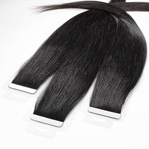hair2heart 30 x 2.5g Tape In Echthaar Extensions, 40cm - glatt - #1b naturschwarz