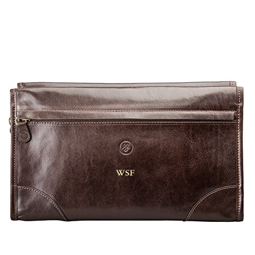 Maxwell scott® personalizzato-Beauty case da uomo, in pelle italiana Borsa (Tanta) Marrone Marrone scuro