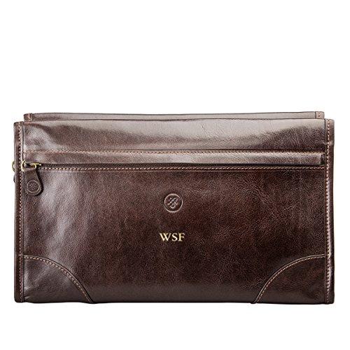 Maxwell scott® personalizzato-Beauty case da uomo, in pelle italiana Borsa (Tanta) Marrone Marrone scuro