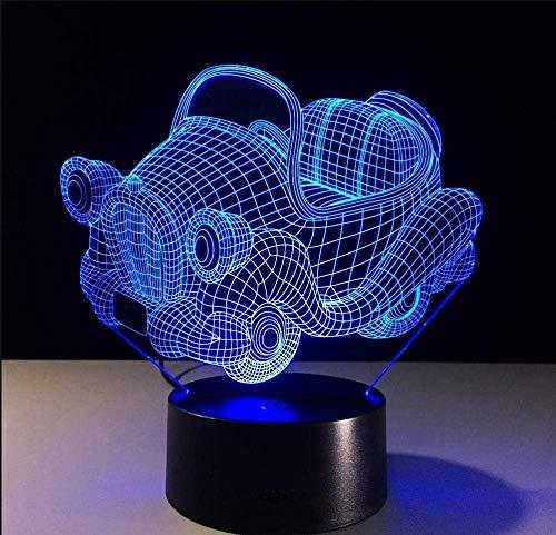 Luces sinfónicas 3D Columpio Coche 7 luces de colores Niños 3D Visible LED Luz de noche Lámpara de mesa USB táctil Bebé Luz de noche para dormir