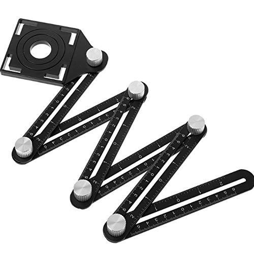 DIMDIM Faltlineal, Stanzer, Schreinerarbeiten, Winkellineal mit Bohrer, Konstruktionslineal, Verwendung für Werkzeugschablonen (Farbe: 1)