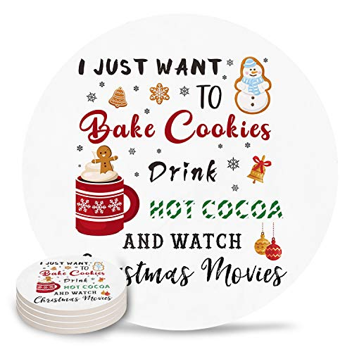 Coasters for Wooden Table Christmas Absorbent Heat Insulated Stone Coaster with Cork Backing Set of 4 for Birthday, Housewarming Bake cookies Hot Cocoa Watch Movies White