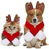 Sunshine smile Ropa para perros de Navidad, decoración navideña, para mascotas, para la cabeza, gorro de cornamenta, traje rojo de Navidad, accesorio para el pelo para gatos y perros