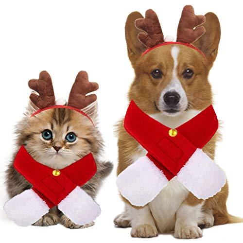 Sunshine smile Weihnachten Hundekleidung, Haustier Weihnachtsdekoration Hund, Stirnband Mode Geweih Hut,Haustier Weihnachtsroter Kostüm-Anzug,Weihnachten Haustier Kopfschmuck für Katzen Hunde