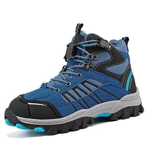 Vituofy - Botas de senderismo para niños, unisex, para niños, para trekking y senderismo, color Azul, talla 38 EU