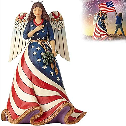 WENLIANG Independence Day Female Angel Decoration, 4th July Resin Craft Decoration, American Faith Patriotic Angel Statues And Figures For Home Office Decor Ornaments (A)
