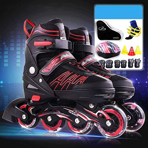 KMILE Skates de Rodillos al Aire Libre Deportes para niños Patines en línea con Frenos, Rosa, Negro (Size : 32-36EU)