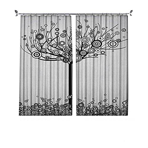 Cortinas opacas con diseño de árbol de la vida, diseño abstracto de hojas y plantas redondas, diseño de espiral, cortinas plisadas para dormitorio, sala de estar, 200 x 172 cm, color negro y blanco