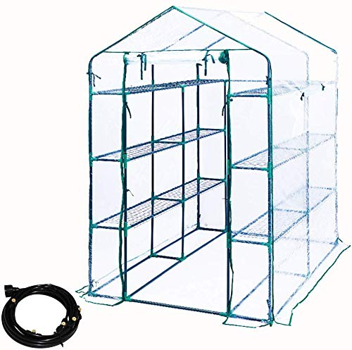 Homes Garden 47.3 in. W x 67 in. D x 76.4 in. H Deluxe Walk-In 4 Tier 16 Shelf Portable Lawn, Garden Greenhouse W/ Drip Irrigation, serre à jardin, Indoor Outdoor Plant Flower Grow Tent PVC Cover Zipper Roll Up #G-G305A00