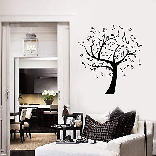 Etiqueta de la pared del árbol de la música notas musicales dormitorio decoración de la habitación familiar vinilo pegatinas de pared jardín de infantes música aula concierto arte mural
