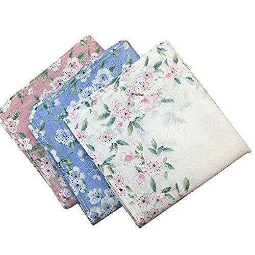 Frauen 100% Baumwolle Taschentuch, Druck Taschentücher (Packung mit 3)
