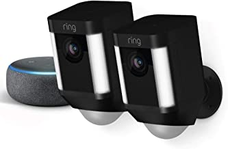 Ring Spotlight Cam Battery 2-Pack (Black) with Echo Dot (Charcoal)