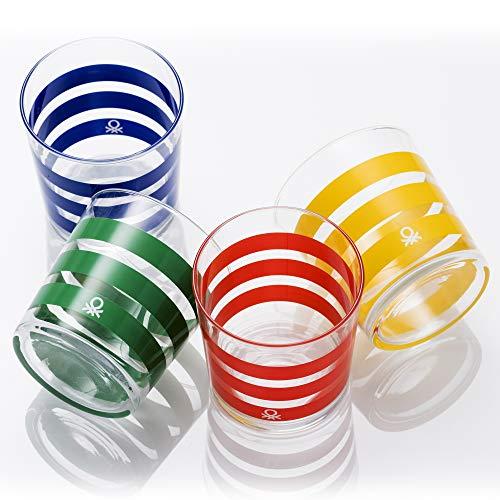 UNITED COLORS OF BENETTON. BE070 Set 4 Piezas Vasos de Agua 0.345 l Cristal Rayas Multicolor Casa Benetton, Glass