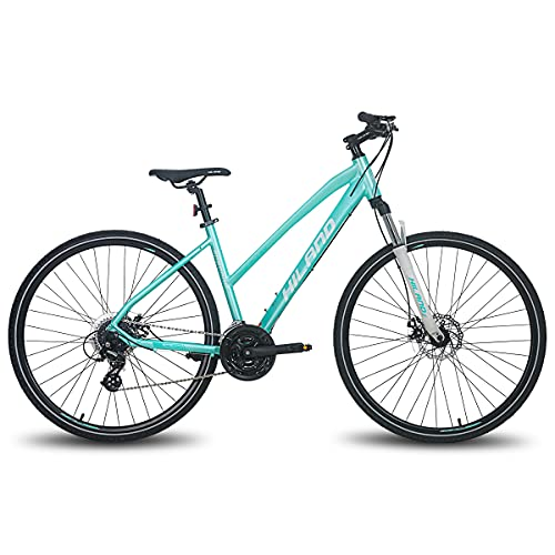 Hiland 700C Hybrid Bicycle Aluminum Shimano 24 Speeds with Lock-Out Suspension Fork Disc Brake City Commuter Comfort Bike