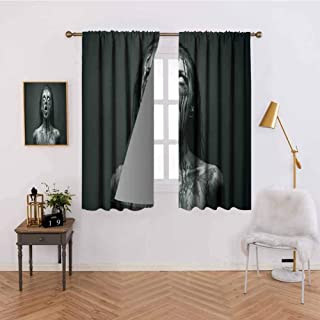 Abeocg Insulated Room Bedroom Darkened Curtains Unusual Scream Monster Woman with Empty Eyes Looking Up Horror Picture Sliding Curtain W63 x L45 Inch