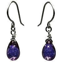 [happy new earrings] ピアス 両耳ペア 金属アレルギー対応 ティアドロップ型 チェコガラス パープル プレゼントに