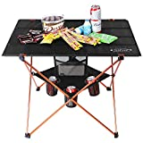 Portable Folding Camp Table Large Camping Table with 4 Cup Holders and Carrying Bags for Indoor and...
