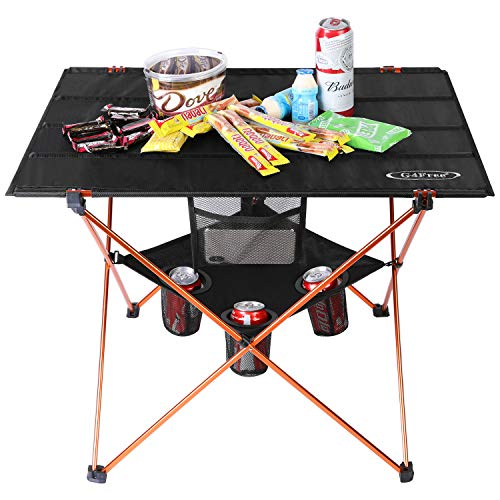 Portable Folding Camp Table Large Camping Table with 4 Cup Holders and Carrying Bags for Indoor and Outdoor Picnic Tailgating BBQ Beach Hiking Travel Fishing Fishing(Orange Medium with Cup Holder)