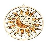 Ámbar báltico Genuino vitrage Mandala decoración Ornamento imán ámbar decoración magnética, Sol y Luna