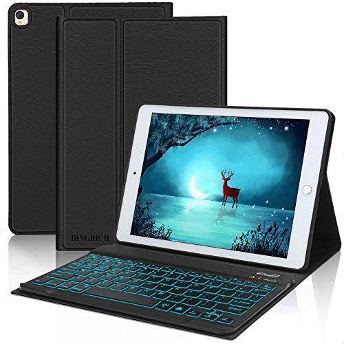 iPad 10.2 8th / 7th Generation Keyboard Case, Detachable Wireless Bluetooth, 7 Colors Backlit, Smart Folio Leather Cover Bag, Compatible with iPad Air 3rd Generation/iPad Pro 10.5 inch