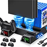 Kawaye PS4 Stand Cooling Fan for PS4 Slim/ PS4 Pro/Regular PlayStation4, PS4 Vertical Stand Controller Charger Station for Dual Charging, PS4 Accesossries with Game Storage for Playstation Consoles